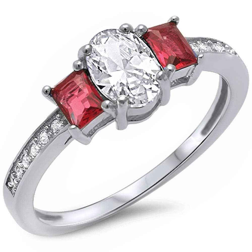 Princess Kylie Synthetic Ruby Baguette Oval Clear Cubic Zirconia Center Ring Serling Silver Size 9
