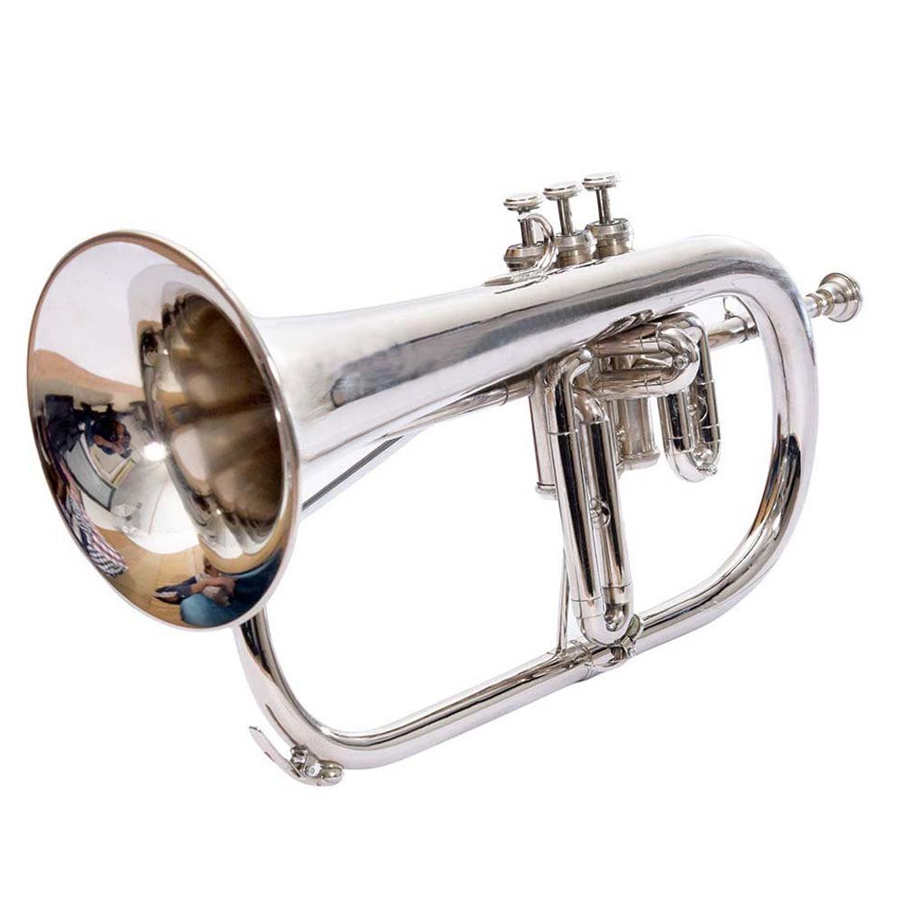 Bb Flat Silver Nickel Flugel Horn With Free Hard Case+Mouthpiece