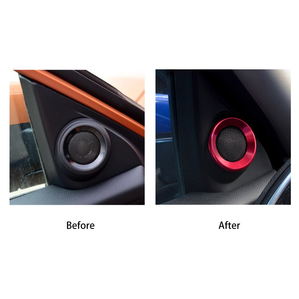 PARBO Red Anodized Aluminum Car Door Audio Speaker Ring Covers A-Pillar Loudspeaker Decorations Circle Trims Honda Civic 10th Gen 2016 2017 2018 up by PARBO