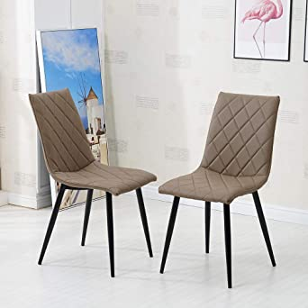 Stupendous Tukailai 2Pcs Light Brown High Back Dining Chairs Faux Squirreltailoven Fun Painted Chair Ideas Images Squirreltailovenorg