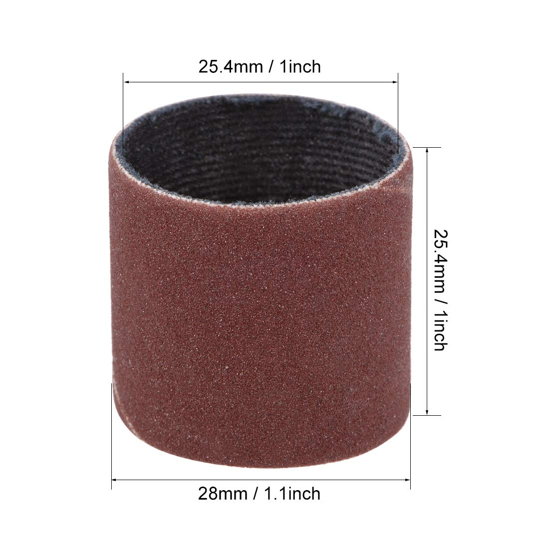 uxcell 1 inch x 1 inch Sanding Sleeves 320 Grits Sandpapers Band Drums 5 Pcs