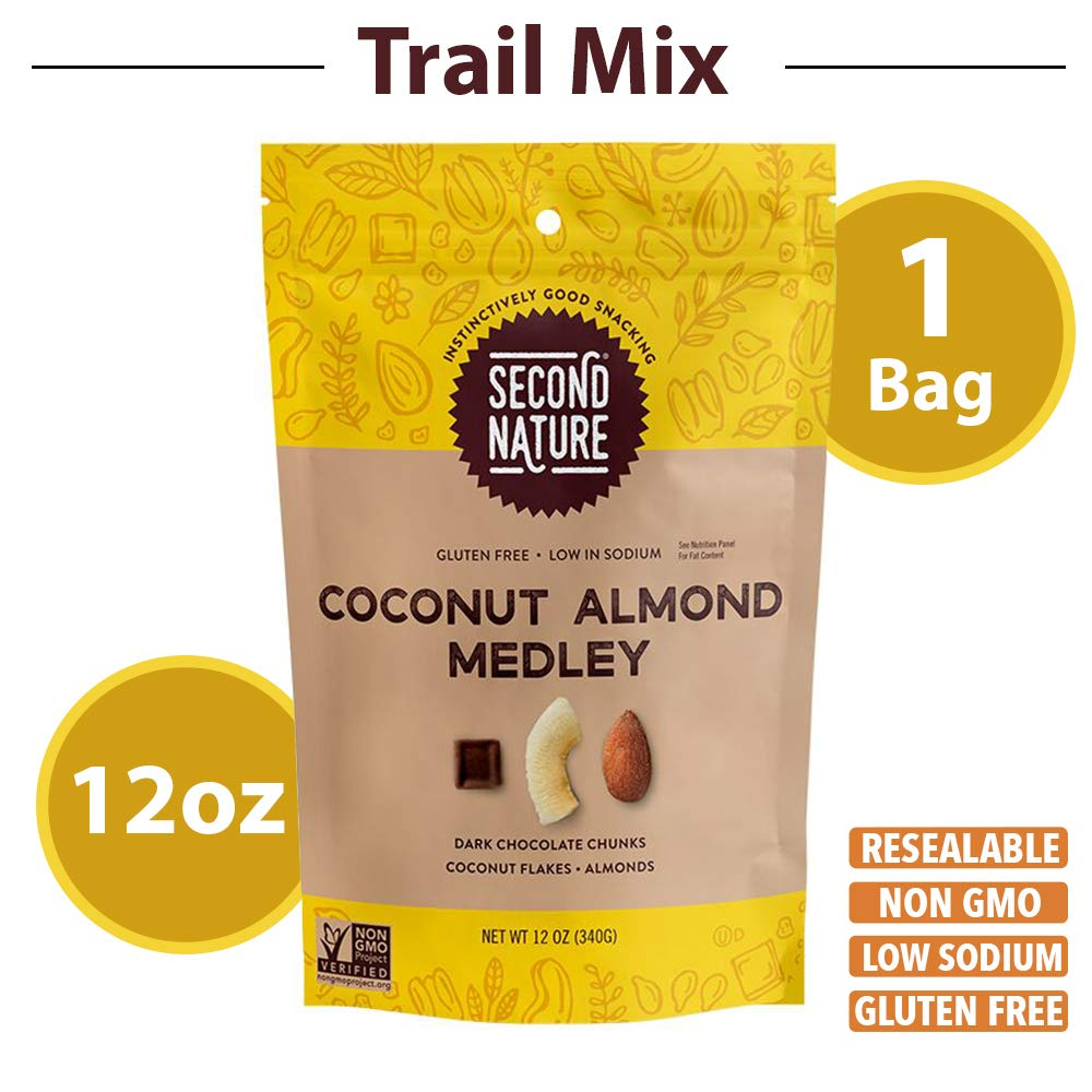 Second Nature Coconut Almond Medley Trail Mix - Healthy Nuts Snack Blend - 12 oz Resealable Pouch by Second Nature