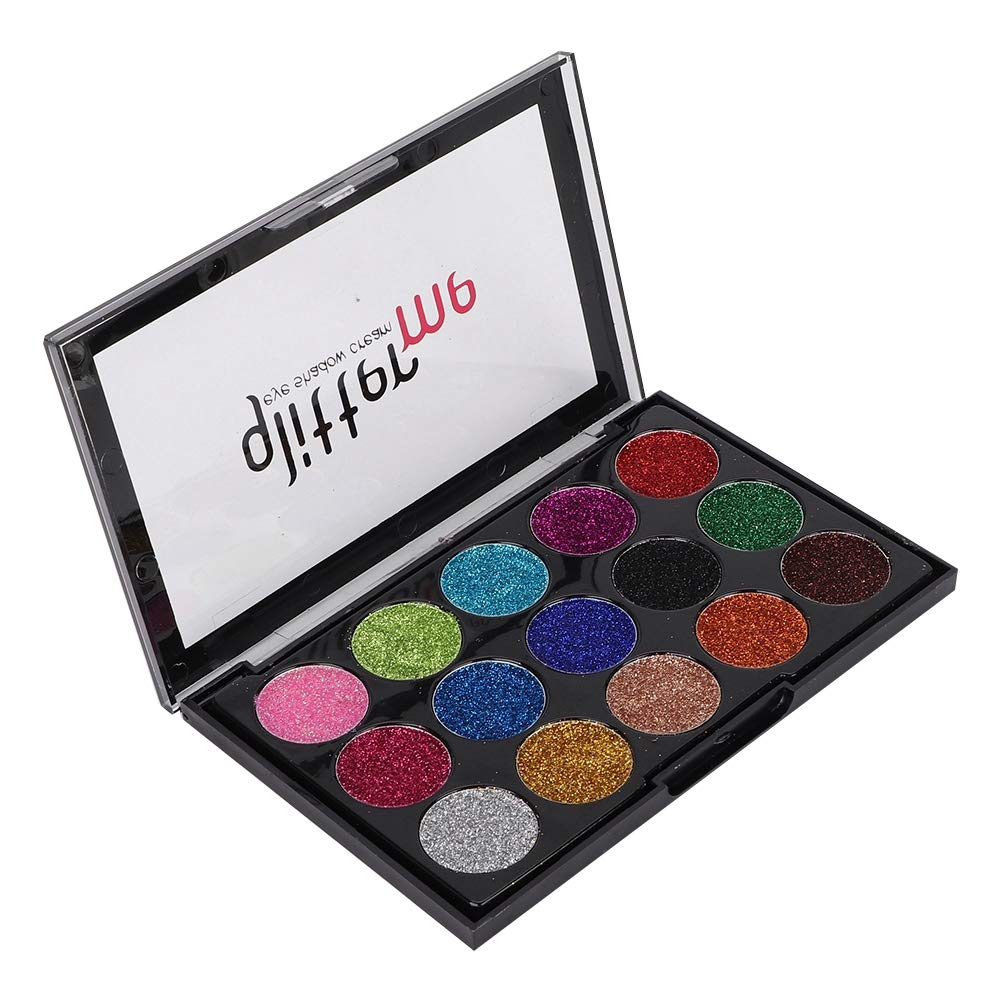 15 Colors Shimmer Eyeshadow Palette, Warm Color Eye Shadows Glitter Makeup Kit Make Up Brushes Set Beauty Cosmetics High Pigment Powder Pallet