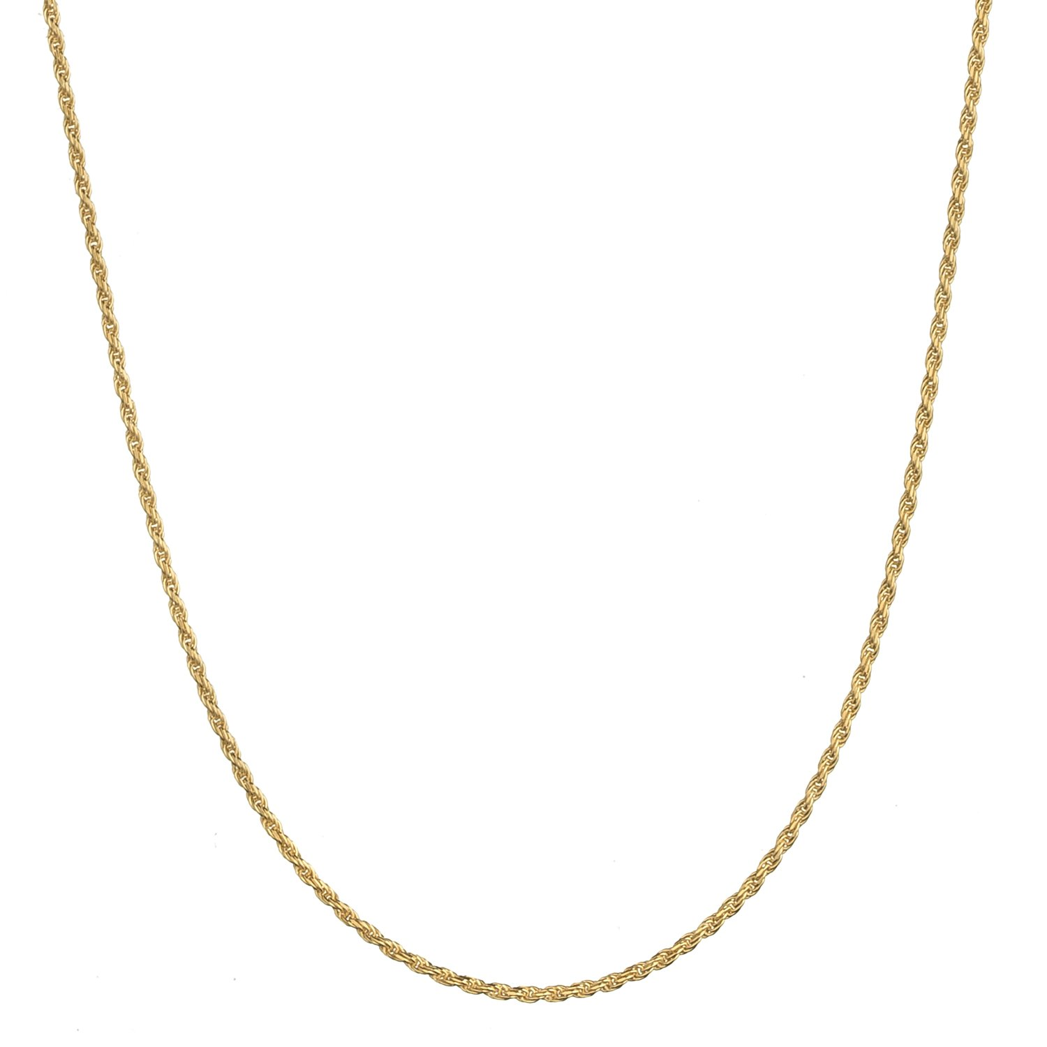 18K Gold Flashed Sterling Silver 1.6mm Italian Rope Chain Necklace - 18''