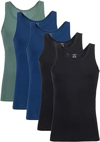 Falechay Camiseta Tirantes para Hombre Pack de 5 de Algodón 100% Camisetas Interiores Deporte más Colores: Amazon.es: Ropa y accesorios