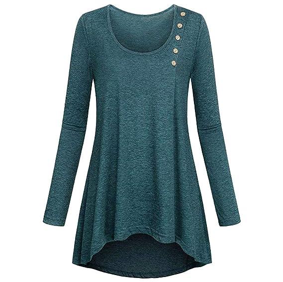 ZODOF Camisa Casual Mujer Vestido Blusa Túnico Cuello Redondo Shirt Suelto Sudadera Camiseta Manga Larga Mujer Mujeres Ocasionales Floja Ajuste de túnica ...