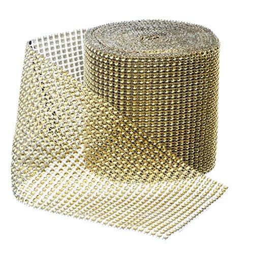 Gold Diamond Sparkling Rhinestone Bling Wrap Ribbon Bulk DIY Roll for Event Decorations, Wedding Cake, Bridal/Baby Shower, Birthdays, Arts & Crafts Vase & Party Decorations - 30 Ft - 1 Roll - Gold Diamond Ribbon