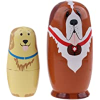 BAOBLADE 5 Pieces High Quality Wood Dogs Animals Printed Russian Nesting Dolls Babushka Matryoshka Gift Home Display