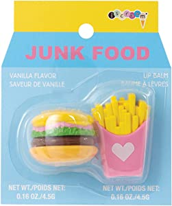 iscream Junk Food Burger and Fries Shaped Vanilla Flavored Lip Balm Set
