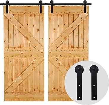 274cm/9FT Kit puerta granero herraje corredera,Puerta de Granero Corredera de Madera, Herraje para Puertas Corredizas Interiores,puerta doble: Amazon.es: Bricolaje y herramientas