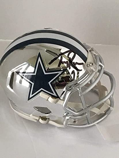 07caef94200 Image Unavailable. Image not available for. Color: Autographed Tony Romo  Mini Helmet - Chrome Speed Proof - Autographed NFL ...