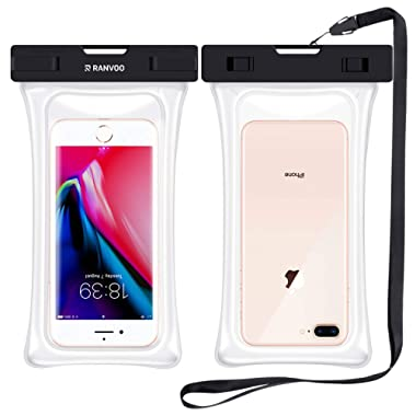 RANVOO [Floating] Waterproof Phone Pouch, Dry Bag Case for iPhone XS Max XR X 8 Plus 7 Plus 6 6s Plus, Samsung Galaxy S9 Plus S8 Edge Note 8 7, LG G5 G6, up to 6.8'' - Clear