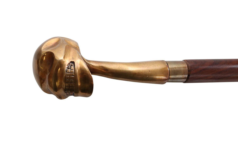 Cráneo bastón de Madera de Oro Palo Manejar Estilo Antiguo Larp ...
