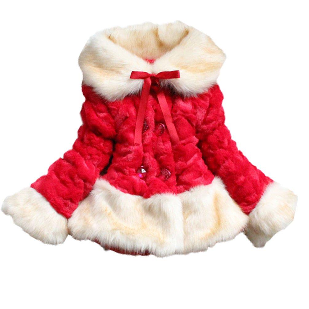 JIANLANPTT Baby Girls Faux Fur Coat Children Lapel Fur Collar Winter Warm Jacket