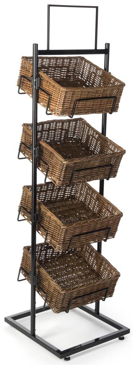 Displays2go Wicker Basket Stand with 4 Tiers, Wicker & Steel Construction, Floor Standing - Natural & Black (M4BSKD66)