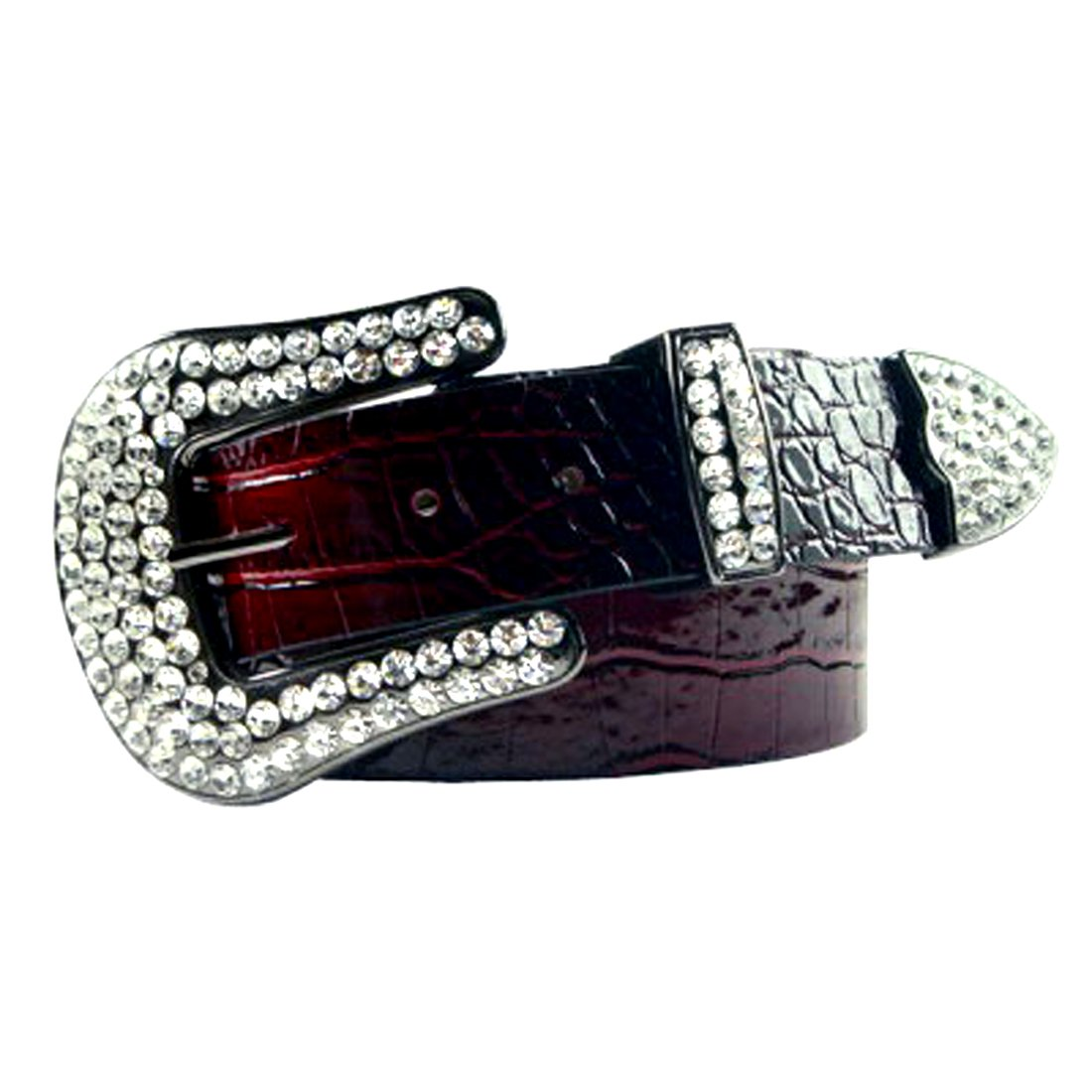 Red Patent Leather Belt in a Crocodile Pattern, Clear Crystal, Size L/XL