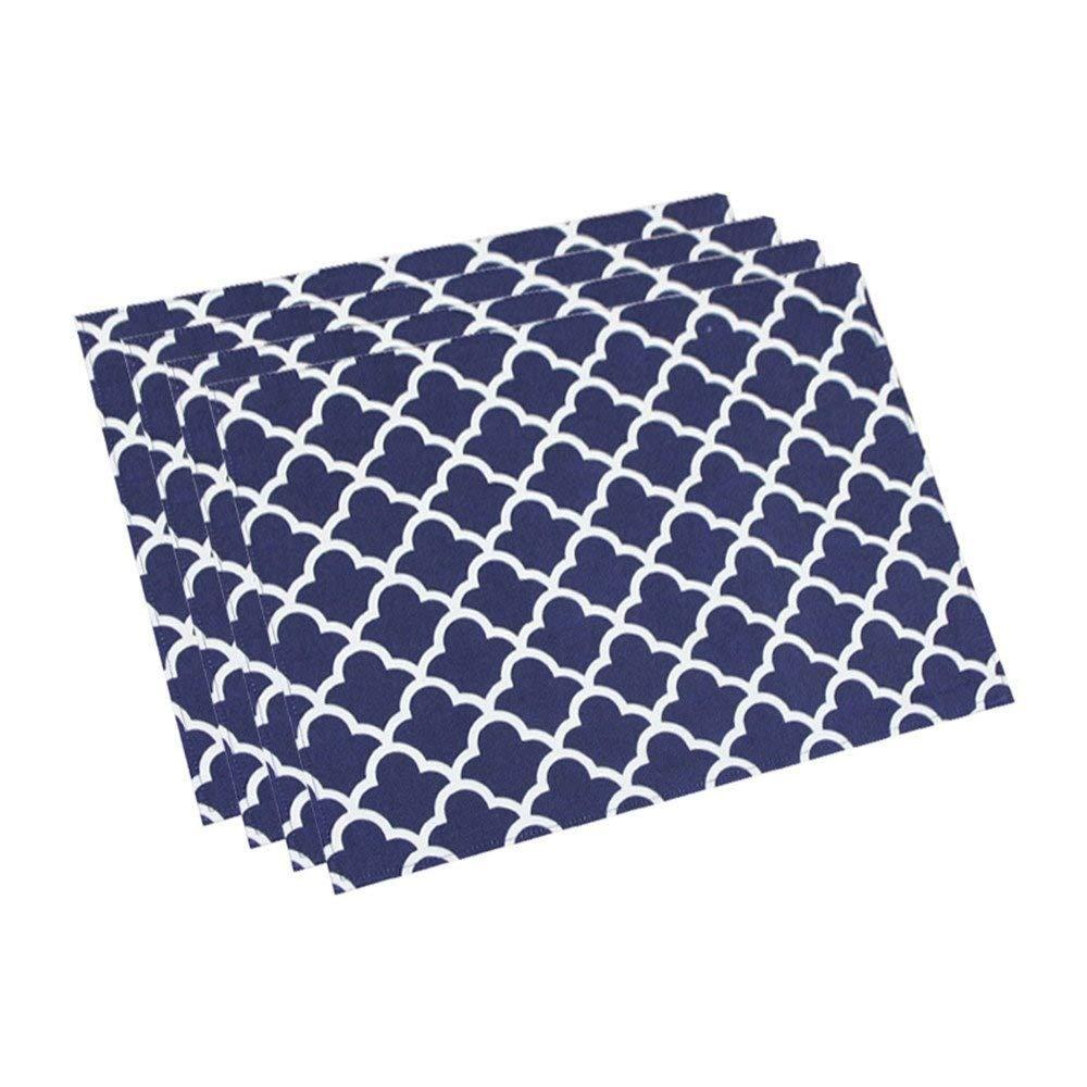 (13Wx19L (4 Pieces), Navy Blue) - Eforcurtain Set of 4 Navy Blue Fabric Table Mat Oil Proof Stain Resistant, Modern Elegant White Geometric Floral Placemats Reversible Waterproof, 33cm x 48cm 13Wx19L (4 Pieces) ネイビーブルー B072JYWVCC