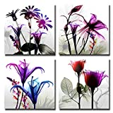 Spirit Up Art 4Pcs/Sets Huge Modern Giclee Prints Artwork Multi Flowers Pictures Photo Paintings Print on Canvas, Wall Art for Home Walls Decor, Stretched and Framed, Ready to Hang, 12*12inches Picture