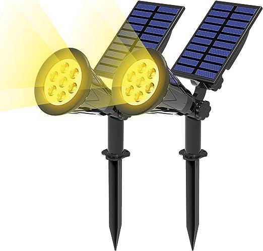 T-SUN (2 Unidades Foco Solar, Lámparas Solar Luces Exterior 7LED ...