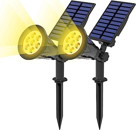 T-SUN (2 Unidades Foco Solar, Lámparas Solar Luces Exterior 7LED Luz de Jardín Focos Impermeable, 3000K Blanco Cálido, Apliques de Pared Solar con 10 Horas para Jardín Patio Camino.: Amazon.es: Hogar