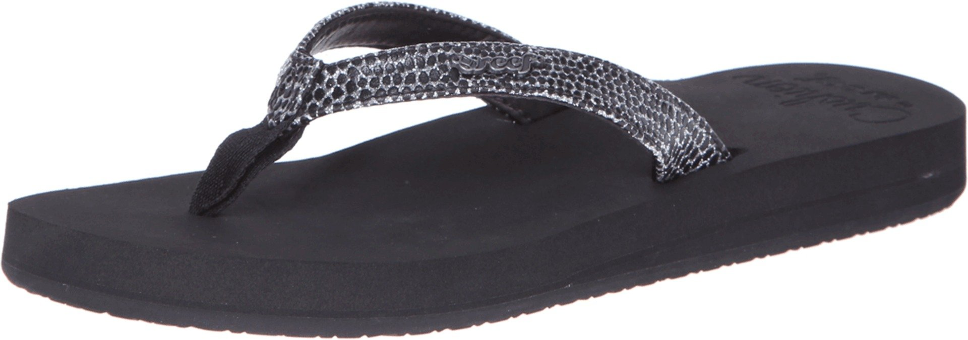 Reef Women's Star Cushion Sassy Sandal,Black/Silver,5 M US