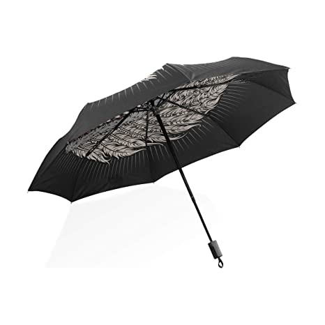 ISAOA Paraguas de Viaje automático Compacto Plegable Paraguas Indio Cabeza Calavera Resistente al Viento Ultra Ligero