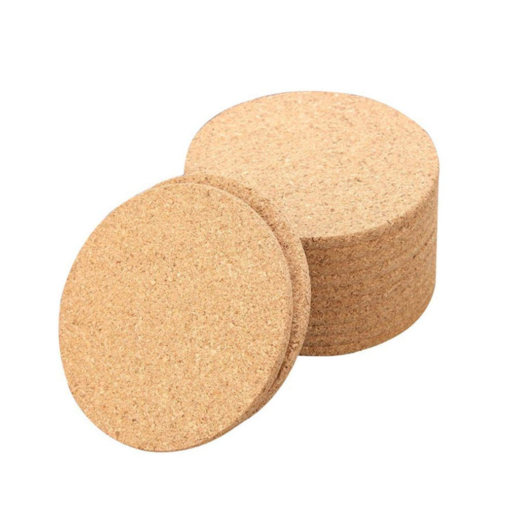 Cork Wood Coasters Round Drink Coasters 10 Pcs Set for Home Counters, Kitchen, Dining, Living Room, Patio, Coffee Table (brown)