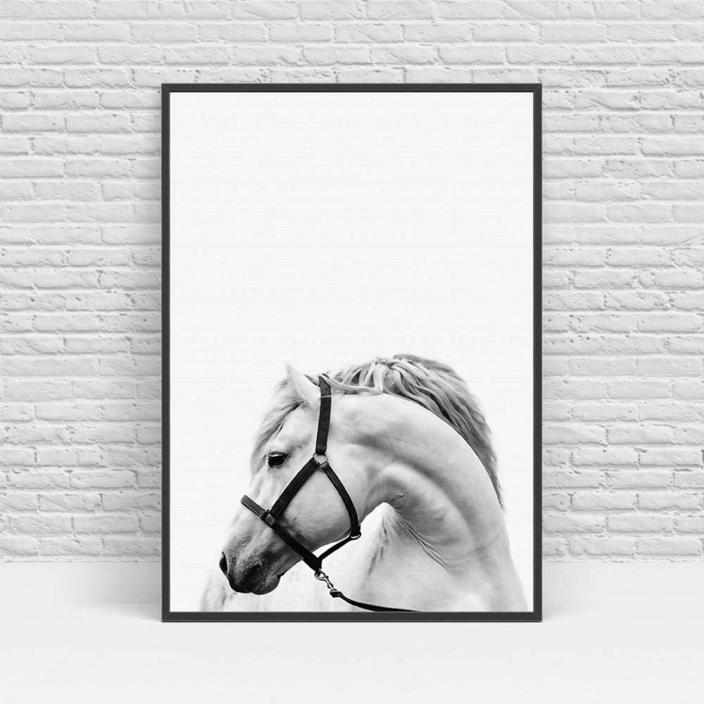 Chihie Nordic Wandkunst Schwarz Und Wei/ß Tier Poster Pferd Bilder Auf Leinwand Skandinavischen Malerei Pictures 40cm x60cm x3p Kein Rahmen
