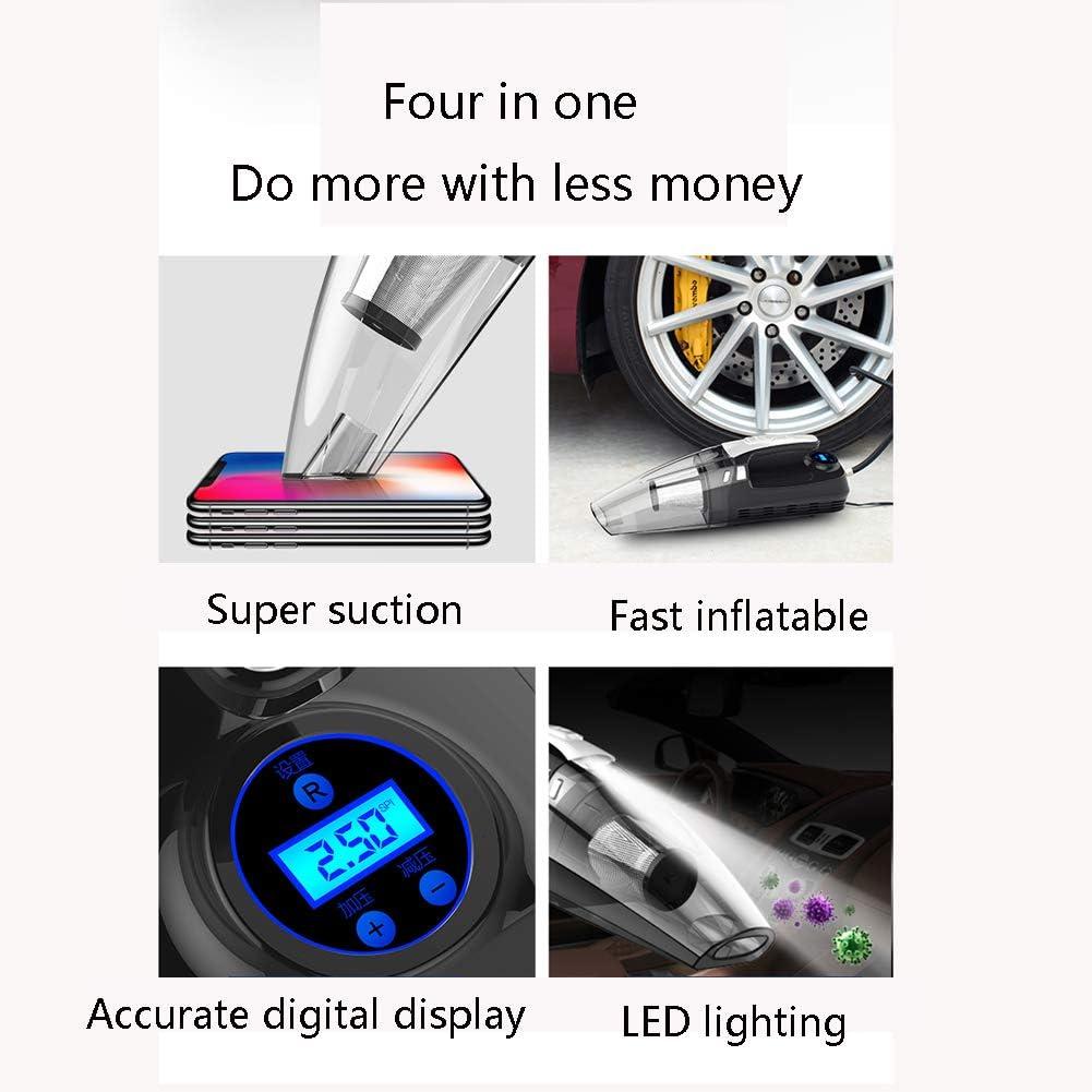 Wei-d Un Pratico aspirapolvere Portatile Quattro in Uno. Illuminazione a LED per Pompa Gonfiabile, Display Digitale. Filtro Metallico Riutilizzabile, Adatto per Casa E Auto Wired