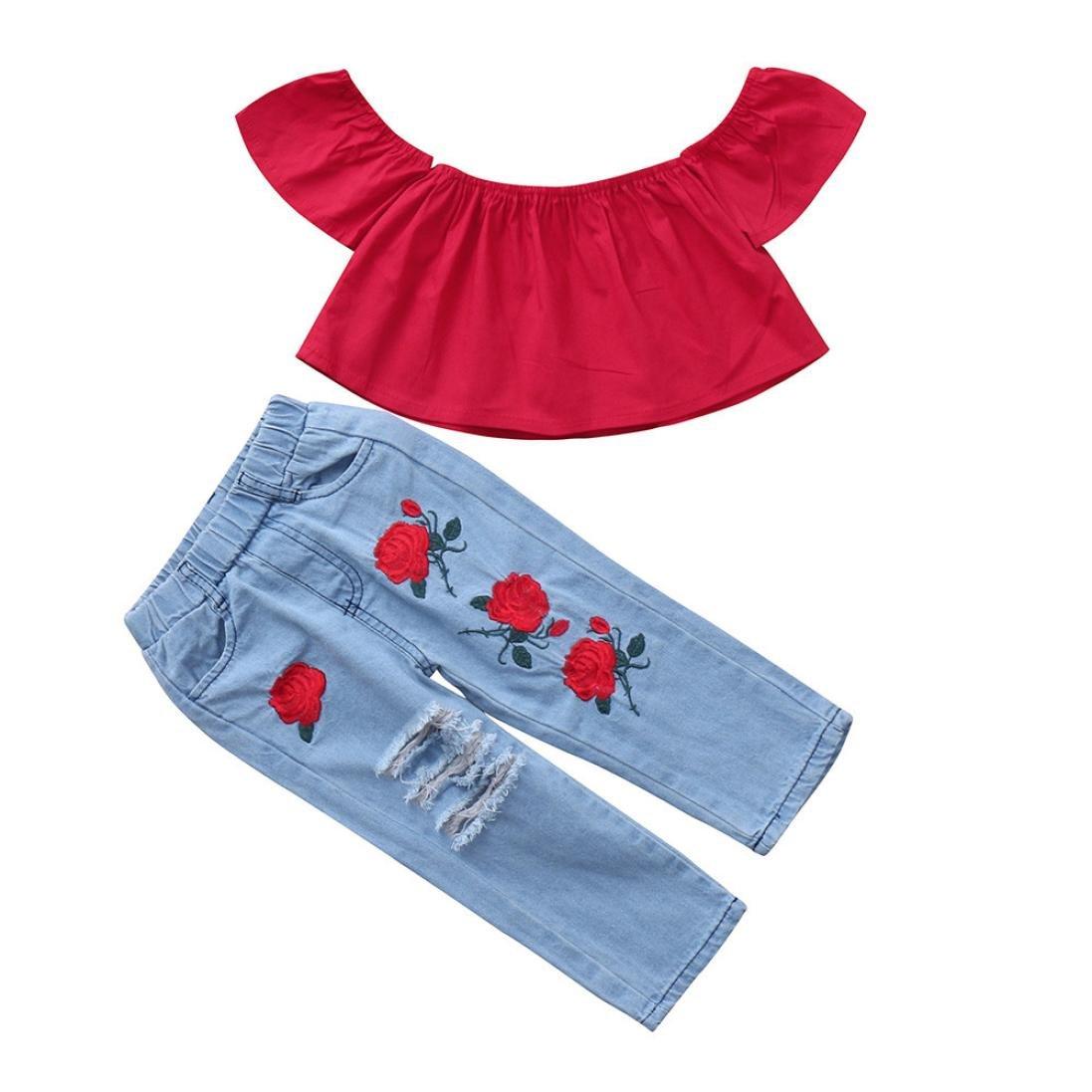 Jimmackey Neonata Ragazze Falbala Off Spalla Camicia Cime + Buco Ricamo Denim Pantaloni Bambine Completi Vestiti Set