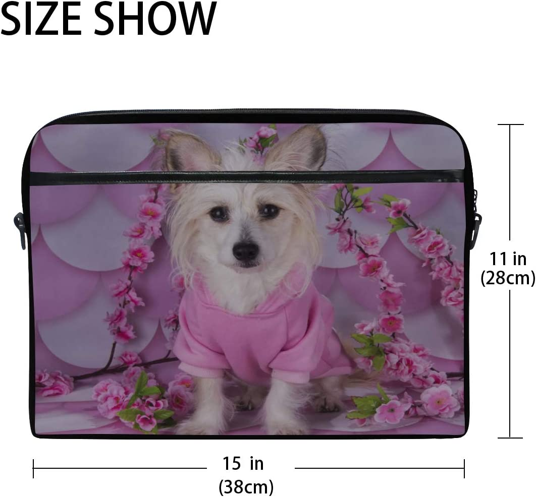 College Students Business People Office Workers Laptop Bag Chinese Crested On Pink White 15-15.4 Inch Laptop Case Briefcase Messenger Shoulder Bag for Men Women