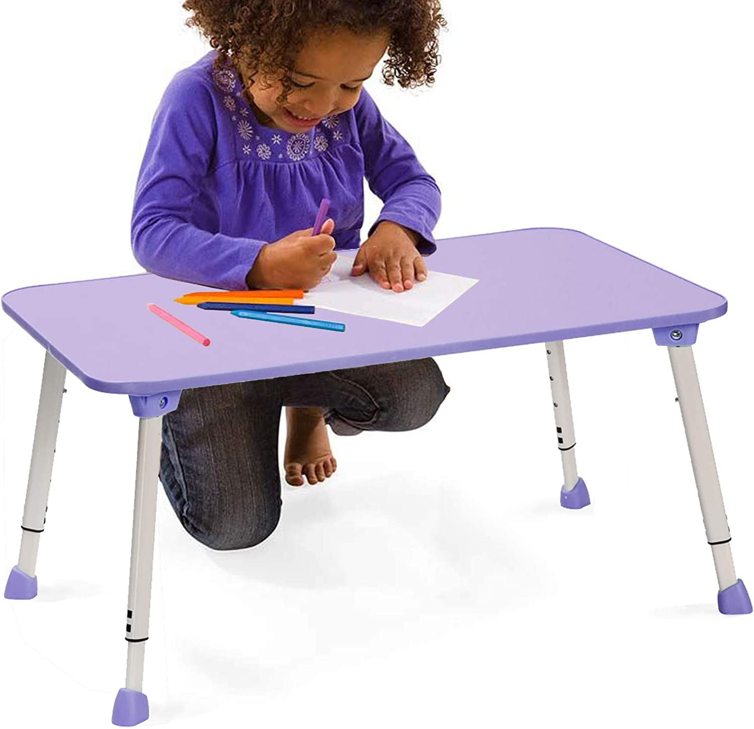 """CHEFAN Portable Kid Desk, Height Adjustable Desk for Homeschool and Classrooms, Foldable Writing Table for Kids and Teens in Orchid Purple, 23"""" L x14.5"""" W"""