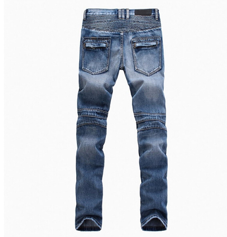 PGXT Men's Runway Stretch Jeans Washed Acid Light Blue Biker Jeans ...
