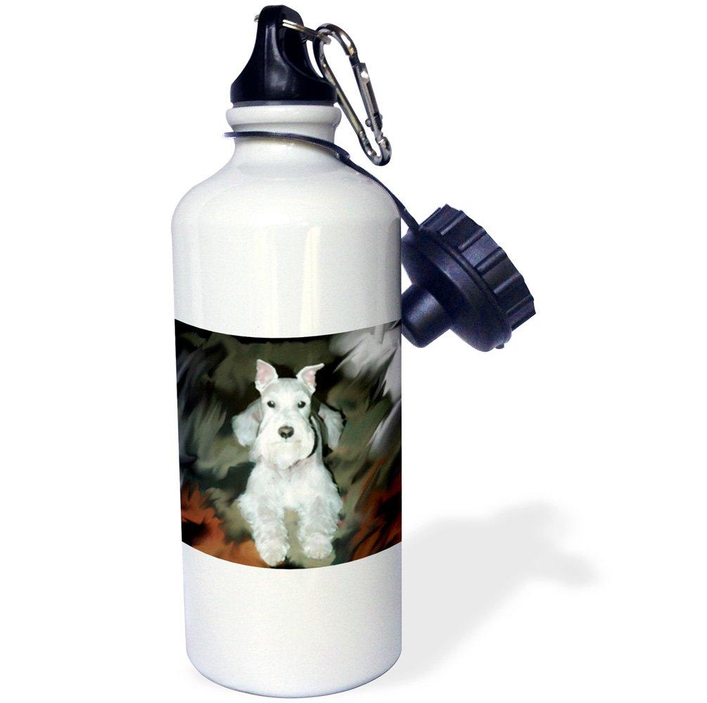 White 21 oz 3dRose wb/_4827/_1White Schnauzer Sports Water Bottle