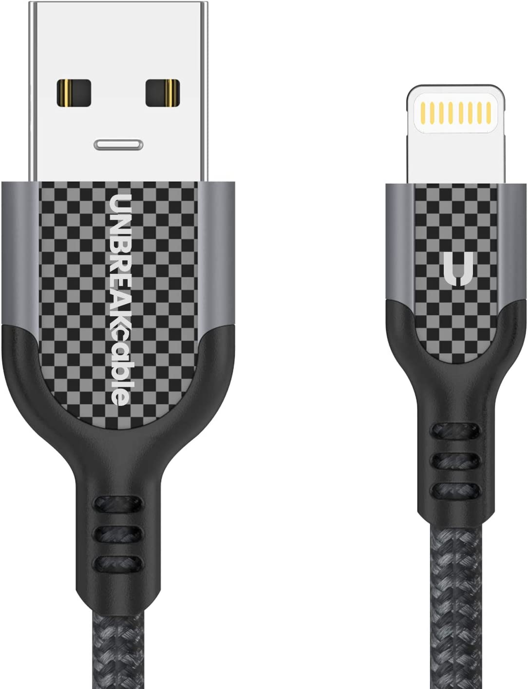 UNBREAKcable Charging Cable for iPhone 35,000 Bends Lifespan MFi Certified Softer Nylon Braided,1M//3.3ft,Black