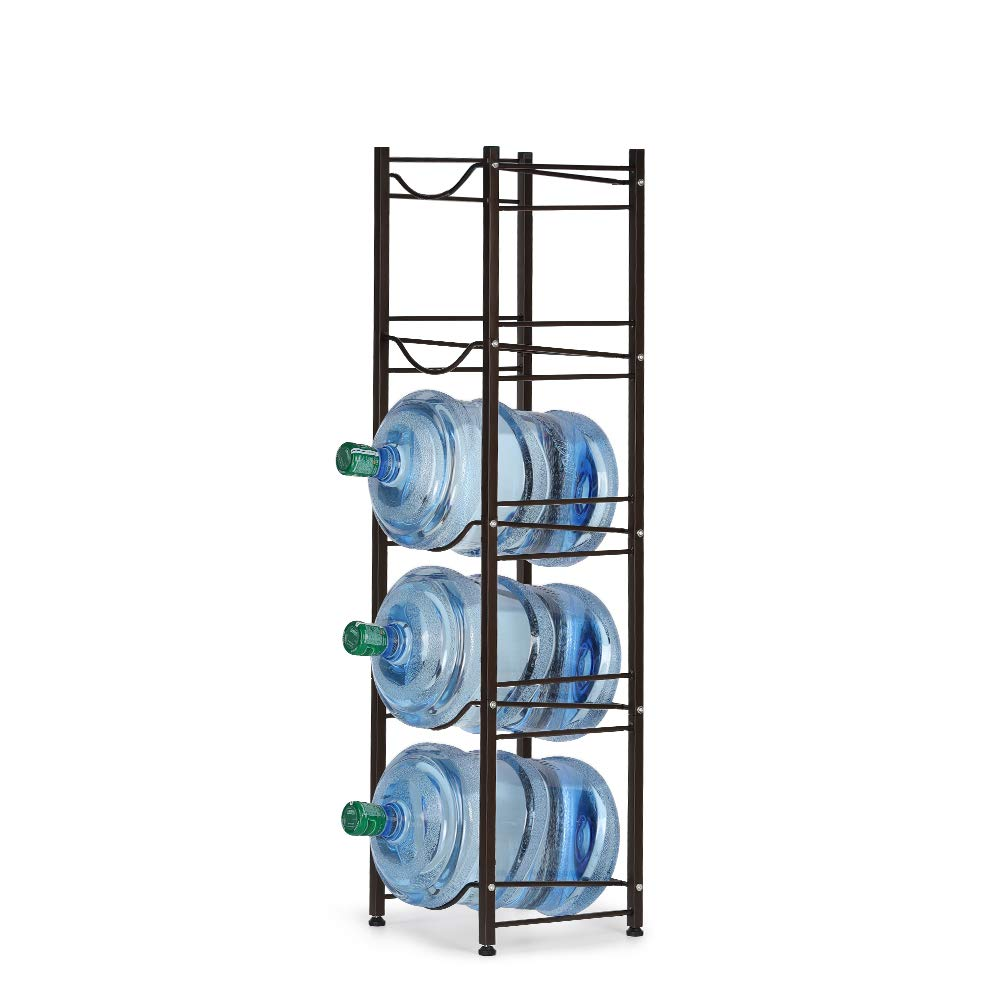 Water Bottle Storage Rack 5 Gallon Holder, 5-Tier Stackable Water Cabinet Cooler Shelf Canning Kit, Home Office Organization by HEOMU