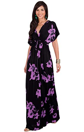 6bad0de378f KOH KOH Womens Long Kimono Short Sleeve Floral Summer V-Neck Flowy Sundress  Sundresses Print