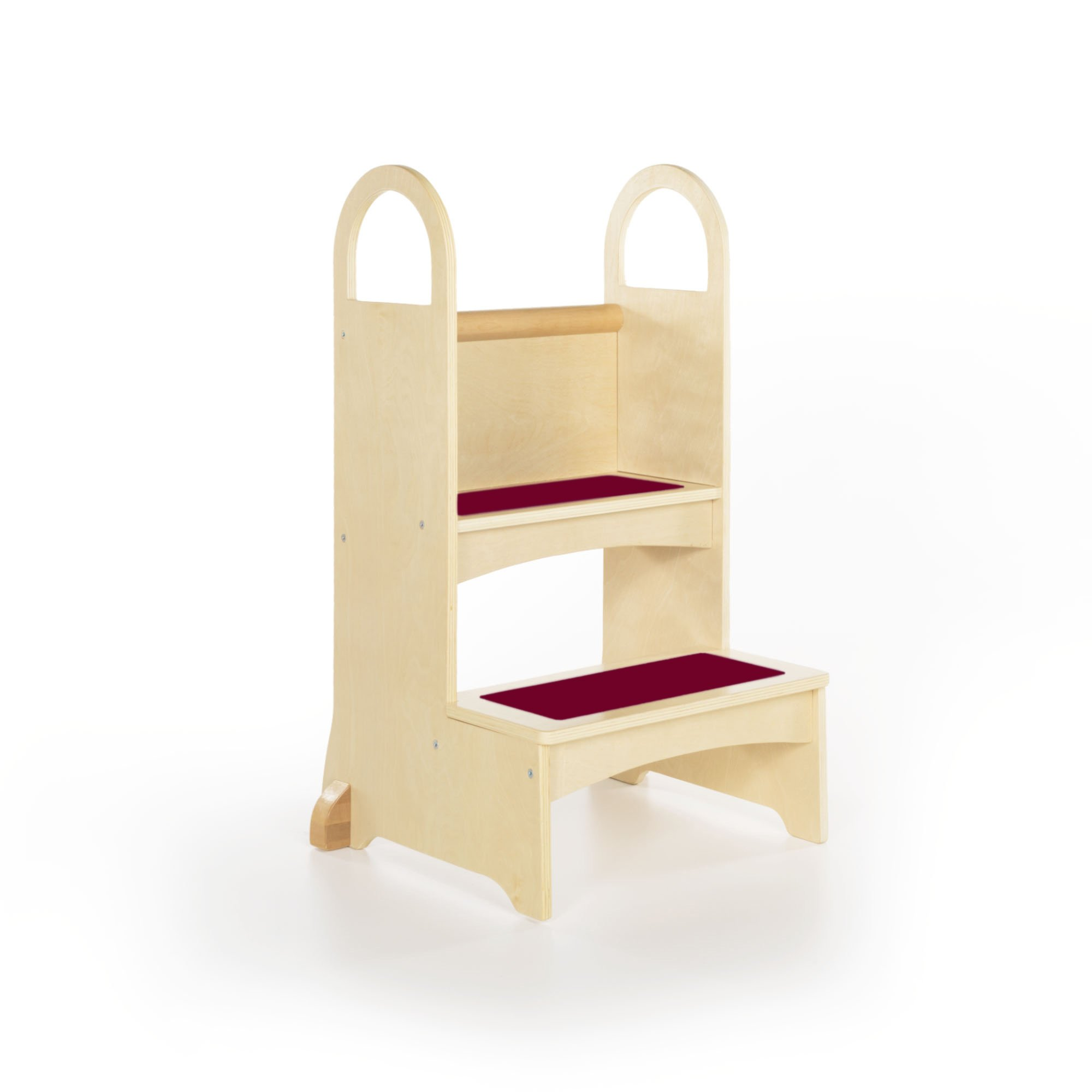 Guidecraft Kitchen Helper High-Rise Step-Up - Natural: Wooden Step Stool for Toddlers, Counter Height with Handholds - Quality Kids' Furniture