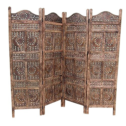 Benzara Carved Screen Sun and Moon Wood Room Divider