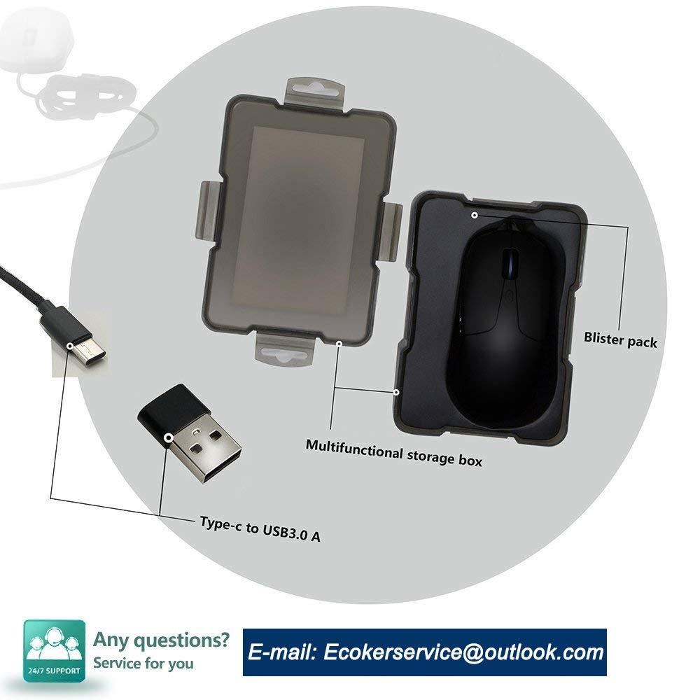 schwarz kompatibel mit allen USB C Port Tablet und Handys Sunwe Kabelgebundene Maus /& C USB-Maus f/ür MacBook Pro 2016 USB-C Maus 4/DPI Stufen verstellbar