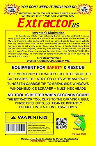 The Extractor ruler /& Self Defense Tool for Car The Life Saving 6 in 1 Tool Window ice scraper Hex Bit Drivers Glass Window Break Seat belt Cutter