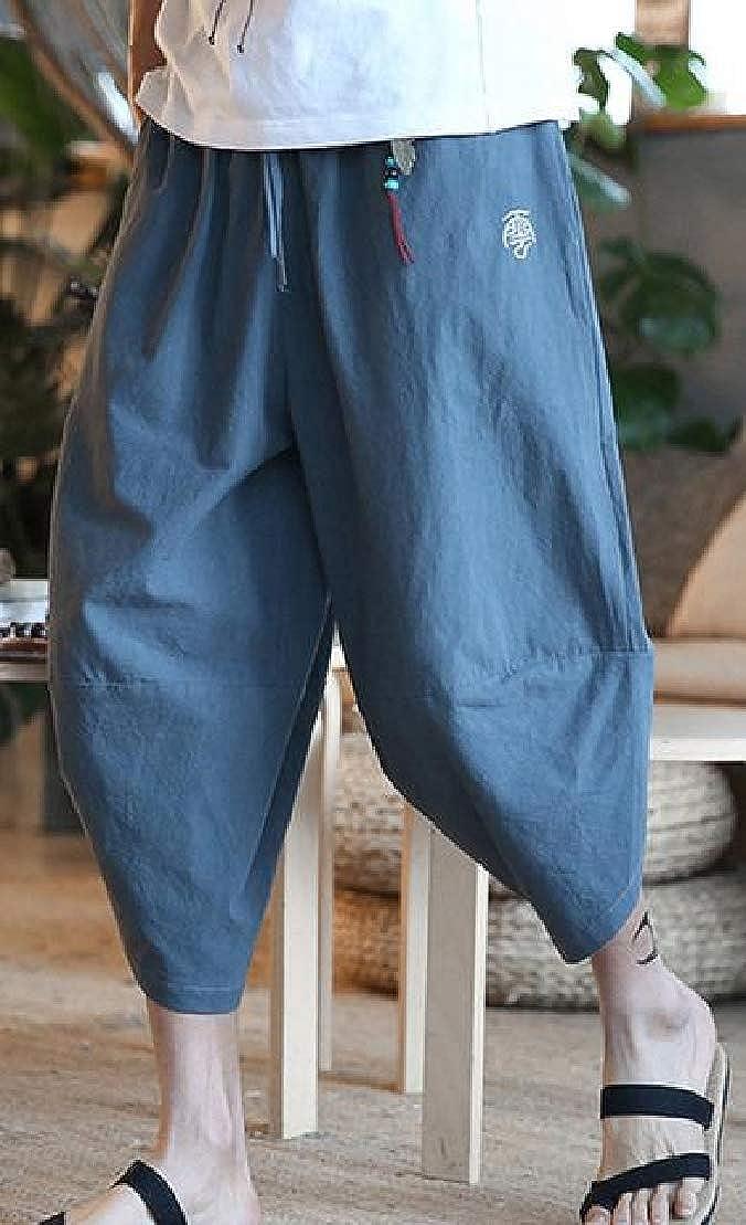 Wofupowga Mens Harem Cotton Linen Elastic Waist Casual Chinese Style Capri Pants