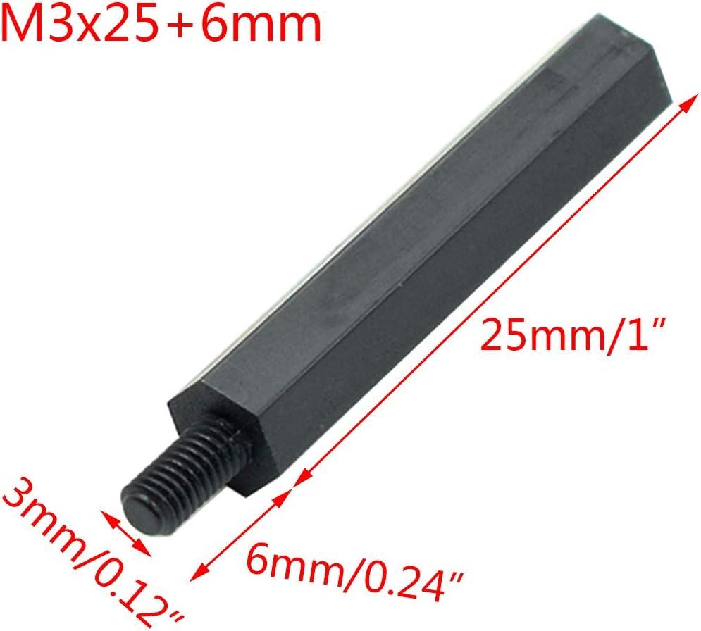 6mm Male to Female Thread Nylon Plastic Hexagon Standoff Spacer Pillars Black Hxchen 100Pcs M3 x 30mm