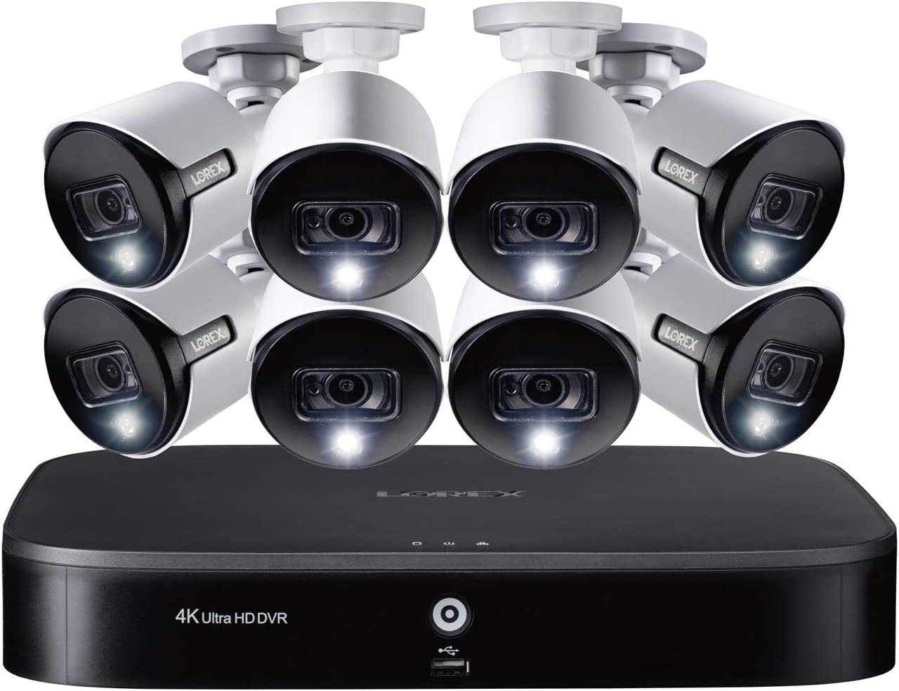 4K Ultra HD 8-Channel Security System with 2 TB DVR and Eight 4K Ultra HD Bullet Security Cameras with Color Night Vision, Active-Deterrence, and Smart Home Voice Control