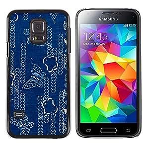 MOBMART Carcasa Funda Case Cover Armor Shell PARA Samsung Galaxy S5 Mini, SM-G800 - Printed Blue Butterfly Pattern