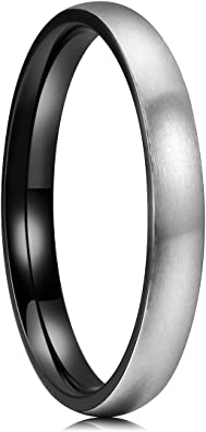 King Will Basic 3mm 4mm 5mm 6mm 7mm 8mm Titanium Ring Matte Brushed Black Comfort Fit Domed Wedding Band for Men