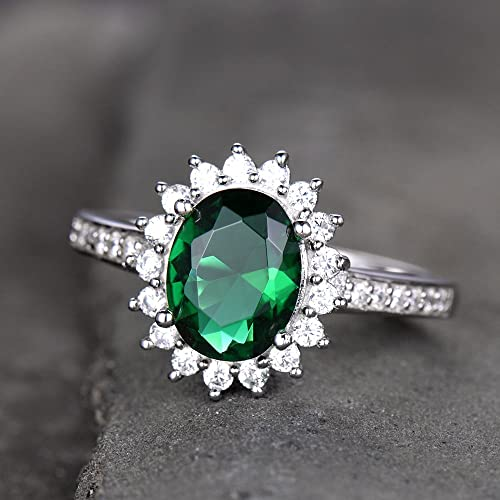 Amazon Com Emerald Engagement Ring Vintage Princess Diana