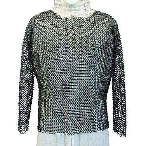 Medieval Knights Warrior Black Chainmail Hauberk Full Sleeve Body Armor