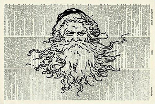 FATHER CHRISTMAS ART PRINT - SANTA ART PRINT - SANTA CLAUS ART PRINT - Vintage Art Print - Illustration - Picture - Vintage Dictionary Art Print - Wall Hanging - Book Print - Wall Art 88D - Vintage Santa Claus Pictures