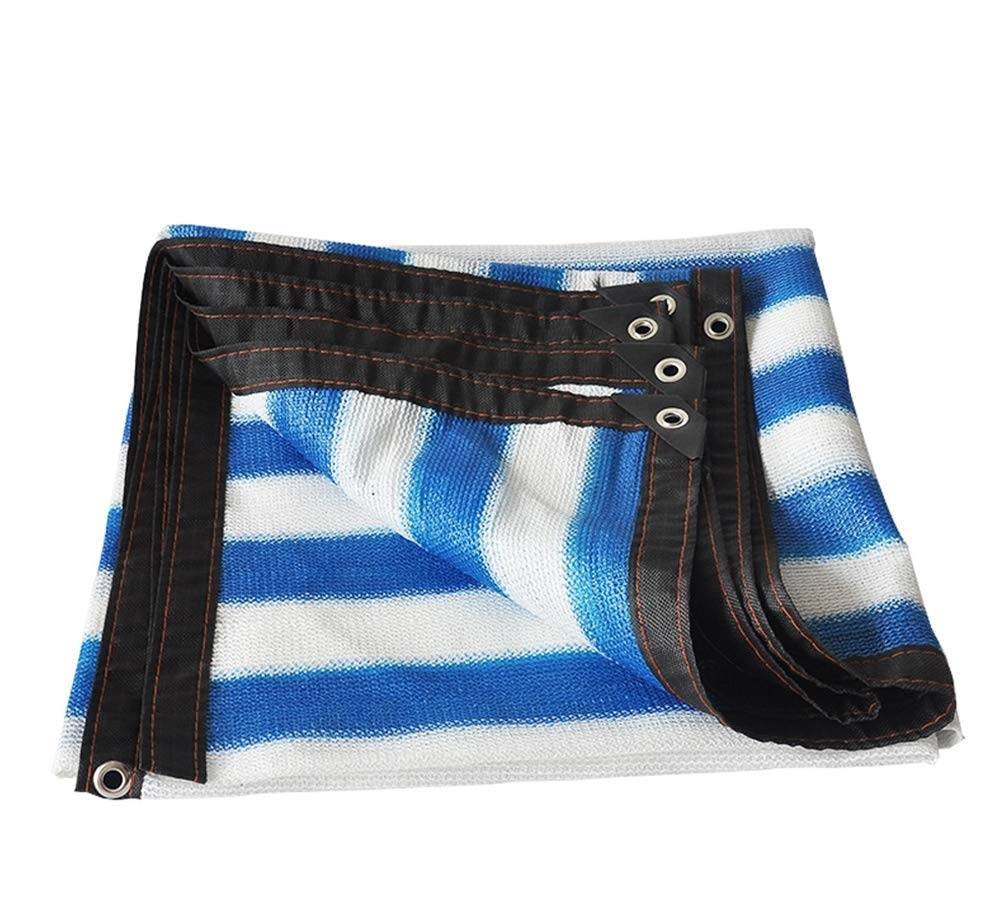 CMDDYY Schattennetz - blaues und weißes gestreiftes Schirmnetz 90% - UV-SchutzplanengartenBlaume im Freien,6x8m
